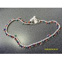 GENUINE INDIAN ANKLET WITH SMALL MULTICOLOURED BEADS