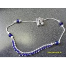 INDIAN ANKLET WITH SMALL & LARGE BLUE BEADS D1