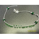 INDIAN ANKLET WITH SMALL & LARGE GREEN BEADS C8