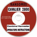 RANSOMES CAVALIER 2800 COMBINE OPERATOR'S MANUAL ON CD