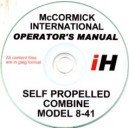 McCORMICK INTERNATIONAL 8-41 COMBINE OPERATOR'S MANUAL ON CD
