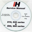 INTERNATIONAL HARVESTER 810, 820, 800 & 900 SERIES CORN & GRAIN HEADER SERVICE MANUAL ON CD