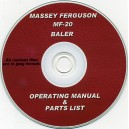 MASSEY FERGUSON MF-20 BALER OPERATOR'S MANUAL & PARTS LIST ON CD