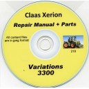 CLAAS XERION 3300 REPAIR MANUAL & PARTS LIST ON CD