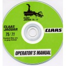 CLAAS JAGUAR 75/71 FORAGE HARVESTER OPERATOR'S MANUAL ON CD