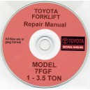 TOYOTA 7FGF 1 - 3 TON SERIES FORKLIFT TRUCK WORKSHOP REPAIR MANUAL ON CD