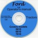FORD 5610, 6610 & 7610 TRACTOR OPERATOR'S MANUAL ON CD